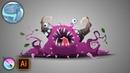 Cartoon monster character. Speed sketch with Krita. Vector art with Adobe Illustrator.