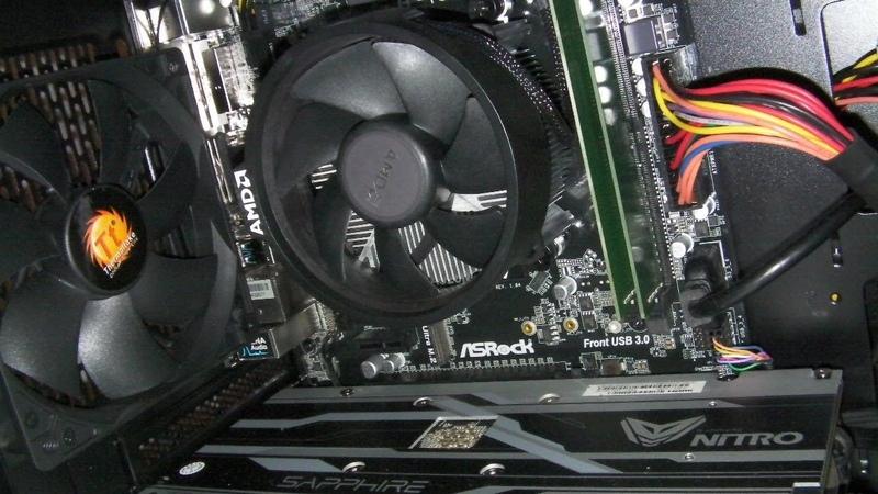 сборка на Asrock A320M-HDV Ryzen 3 1200 разгон памяти до 3.200 Mhz rx 470 Nitro