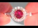 GIA Certified Unheated VVS Clarity Natural Red Ruby Diamond Cocktail Ring C910