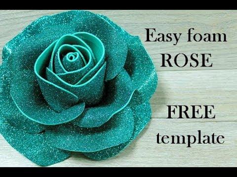 Easy Foam rose. Foamiran Rose Tutorial. عمل وردة مجسمة بالفوم. Glitter Foam Sheet Flowers Making