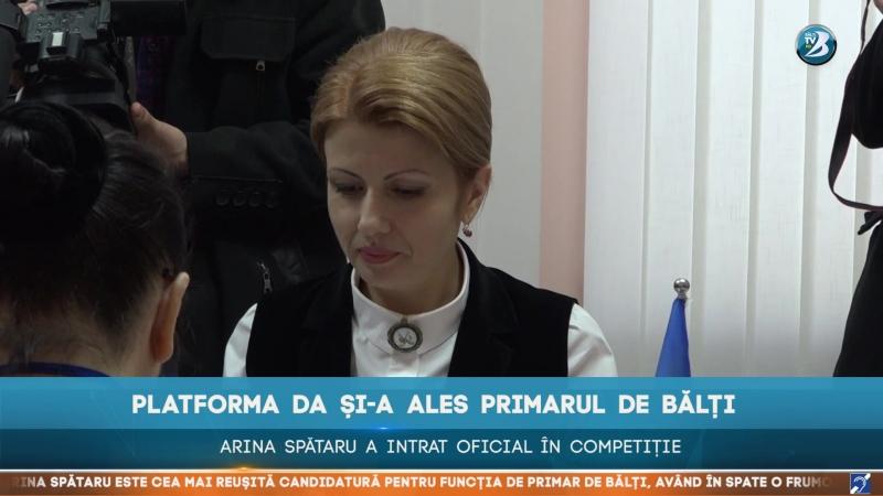 PLATFORMA DA ȘI-A ALES PRIMARUL DE BĂLȚI. ARINA SPĂTARU A INTRAT OFICIAL ÎN COMPETIȚIE