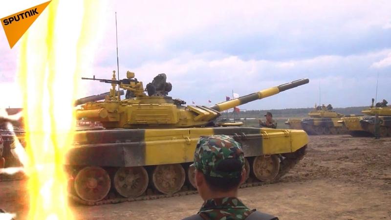 Đội Việt Nam tập luyện trên T-72B3 để chuẩn bị cho Tank Biathlon