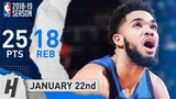 Karl-Anthony Towns Full Highlights Wolves vs Suns 2019.01.22 - 25 Points, 18 Reb