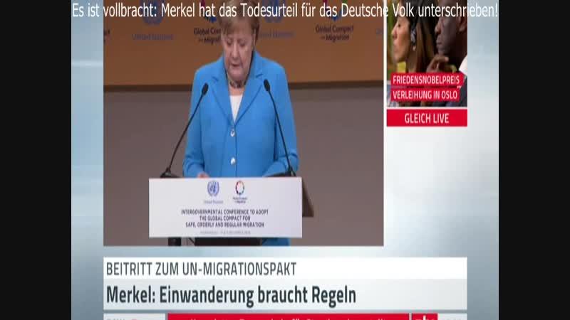 10.12.2018 Merkel unterschrieb heute den Invasoren-Pakt , das Todesurteil für das Deutsche Volk