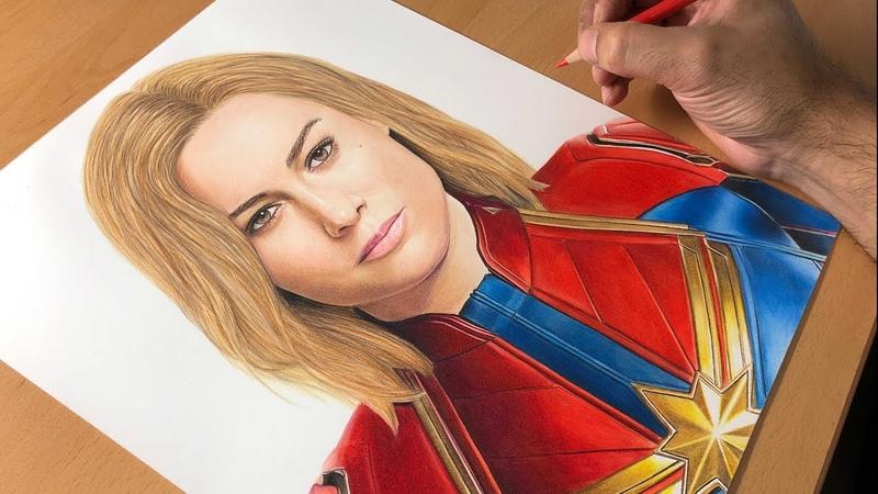 Drawing Captain Marvel Brie Larson Timelapse Artology