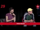 Bastille's Dan and Kyle playing a quiz with Sam and Amy