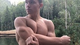 Most Muscular 15 years old boy in the world! flexing show at the lake