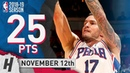 JJ Redick Full Highlights 76ers vs Heat 2018.11.12 - 25 Pts, 3 Assists!
