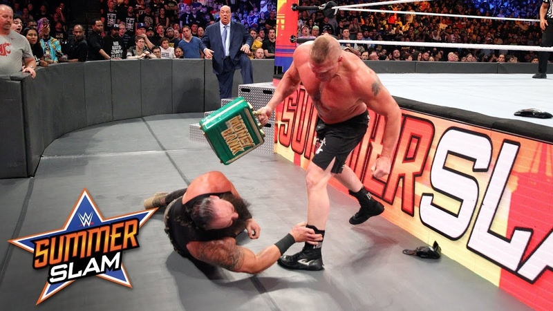 [WBSOFG] Brock Lesnar F-5s Braun Strowman smashes him with his Money in the Bank briefcase SummerSlam 2018