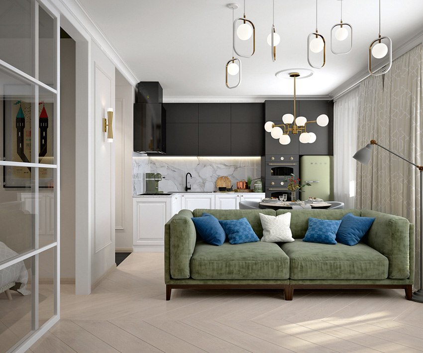 Проект студии из однокомнатной квартиры 33 м.