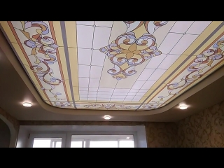 Витражный натяжной потолок г. Подпорожье ул. Пионерская д.3 ТЦ «ЛЮКС» Второй этаж, офис №3