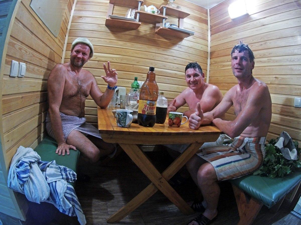 Мужики в бане после похода