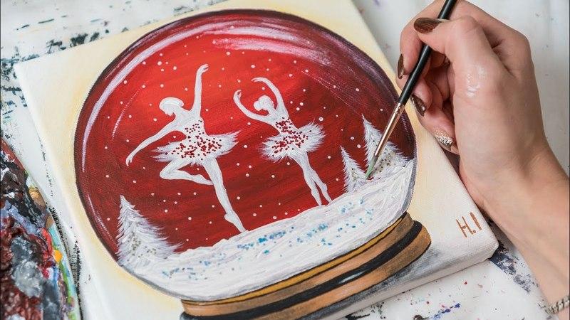 Ballerinas in the Glass Winter Ball - Acrylic painting / Homemeade Illustration (4k)