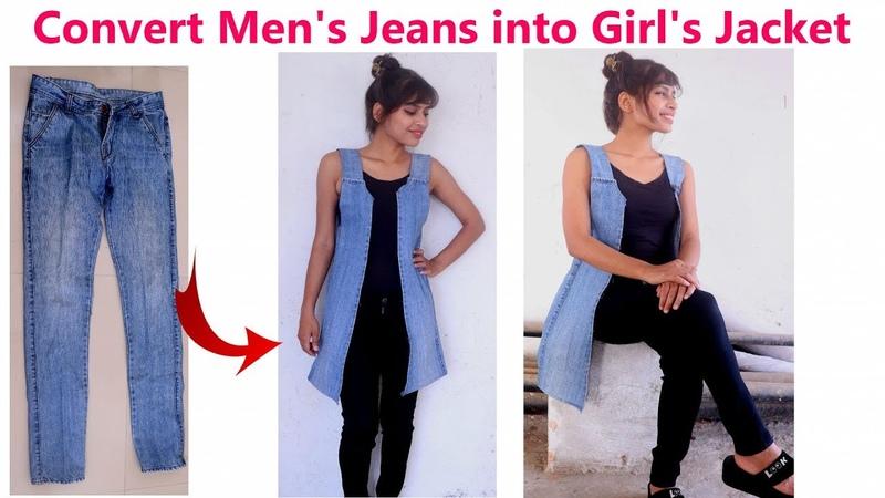 DIY Convert Reuse Recycle Mens Old Jeans into Girls Jacket Diy Girls denim jacket