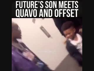 Future son meets Quavo and Offset 😯