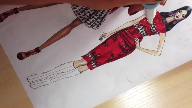 SATIN DRESS. HOUNDSTOOTH PATTERN Ermanno Scervino 2 _ Fashion Drawing