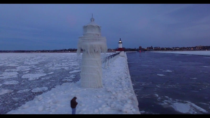 North Pier Lighthouse at Sunset in January, Saint Joseph, Michigan Drone Footage January 8th, 2017
