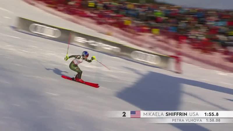 Несмотря на сильное недомогание и находясь на третьем месте после первого спуска Mikaela Shiffrin сделала всё возможное и невоз