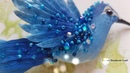 Hummingbird 3D brooch handmade Silk hand-painted Embroidery Swarovski crystals/ Брошь Колибри