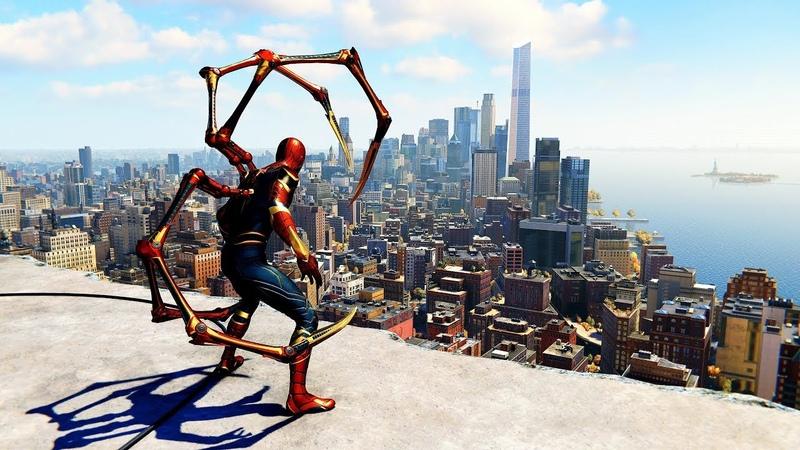Spider-Man PS4 - Iron Spider Suit Combat Free Roam Gameplay