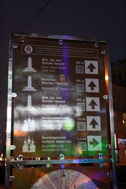 Система пешеходной туристской навигации Нижнего Новгорода.  Федеральная программа для внедрения во всех городах. На коричневом фоне. Одинакого плохо сделана во всех городах. Повторяют за Москвой, но дизайнеров не просили сделать инструкции и дизайн тотемов.  Первый номер телефона написан без пробелов.  Январь 2018