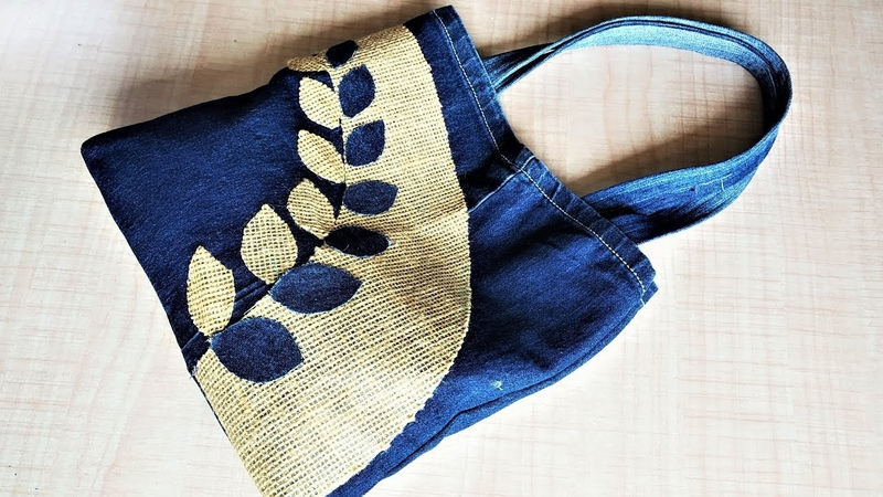 DIY Hand Bag From Old Jeans, Old Cloth Reuse Ideas