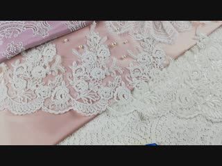 Свадебный фестон (густая расшивка бисером и матовыми паейтками)