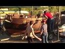 Косинский Морской Клуб, спуск на воду бригантины, часть 1, подъем с прицепа.