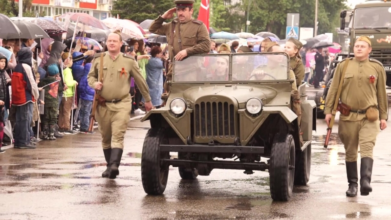 Бессмертный полк Парад Возложение в День Победы 9 мая 2018 года в городе Курганинске