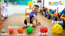 Learn sizes balls for kids Baby Xavi playing soccer ball with daddy so funny