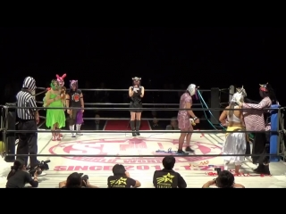 Oedo Tai vs. Fairy God Jungle (Jungle Kyona), Shiki Melody (Shiki Shibusawa) & Viola Tiger (Natsuko Tora)
