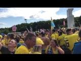 Сотни шведских болельщиков в Самаре скандируют