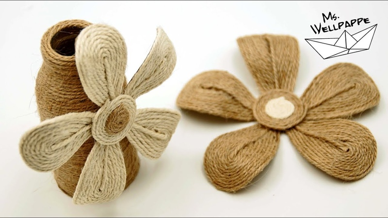 Blumen basteln aus Juteband - schöne Deko selber basteln - DIY