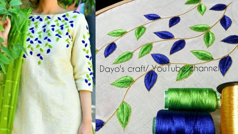 Aari work leaf filling design on kurti | short long stiches