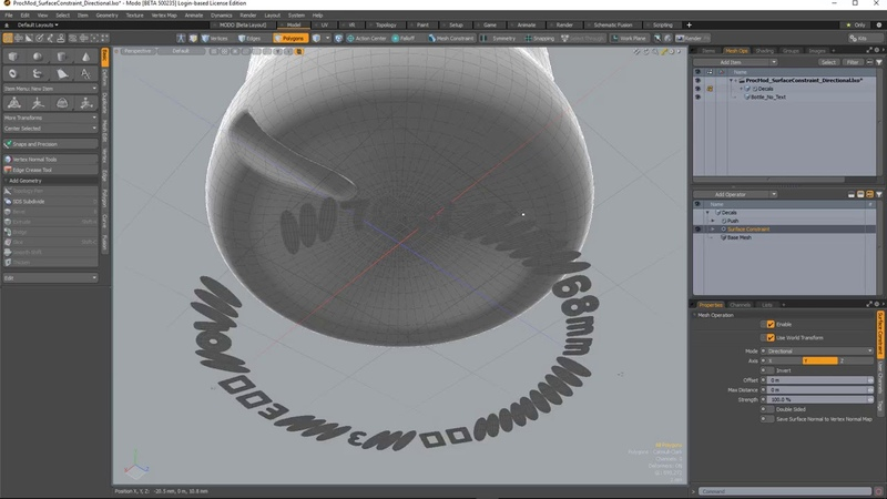 MODO 12.1 Surface Constraint Directional   Mesh Ops