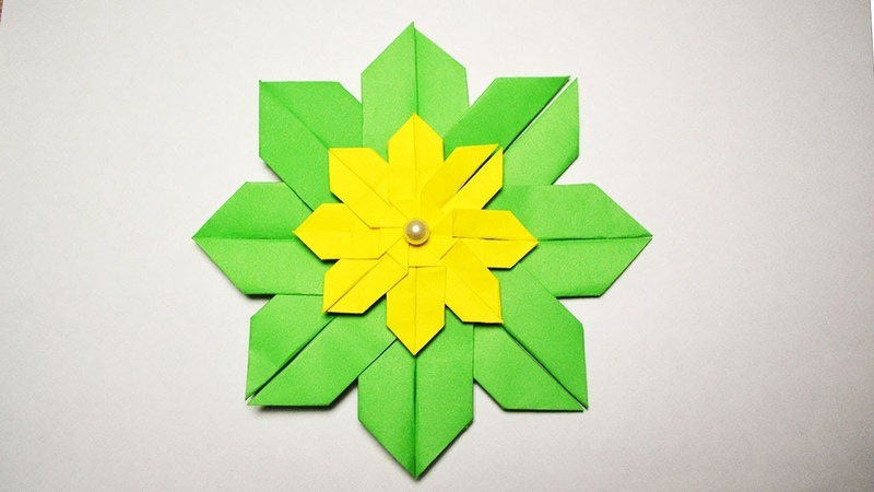 EASY Gorgeous Paper FLOWER Green and Yellow Modular Craft Origami Tutorial DIY
