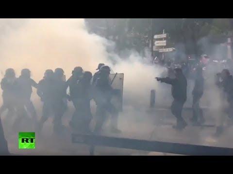 Disturbios en París tras las protestas de funcionarios.