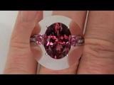 GIA CERTIFIED Estate 7.60 ct Pink Tourmaline &amp Diamond Engagement Ring 18K White Gold
