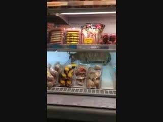 Кот ест продукты в магазине. Волгоград