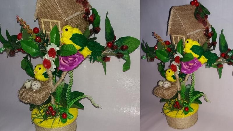 How to make bird nest with jute  bird nest showpice wollen bird making  dustu pake 