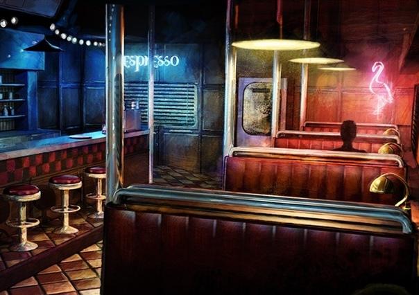 ночное кафе у меня есть маленькое ночное кафе. барная стойка и три столика на четыре персоны. я часто остаюсь за барной стойкой. мне нравится слушать людей, их истории. я, словно коллекционер,