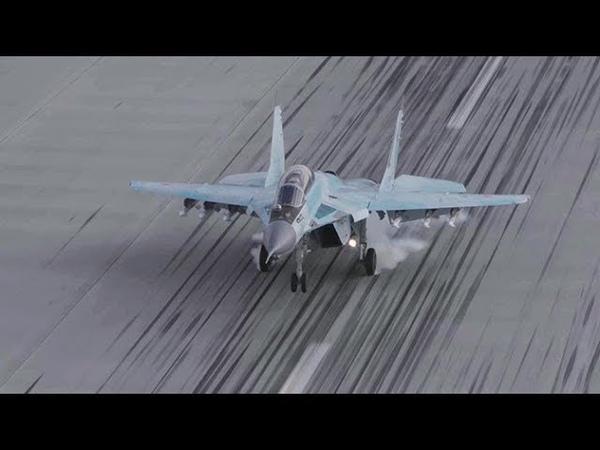 Кадры ювелирной посадки новейшего истребителя МиГ 35
