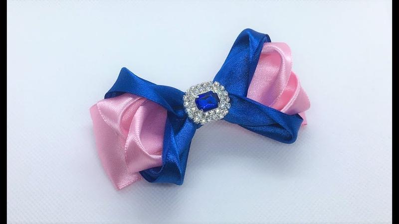 Украшение на заколку Канзаши / Розово-синий бантик