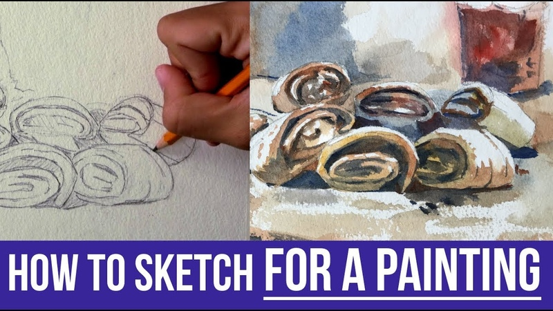 How to Draw Sketch for a Watercolor Painting