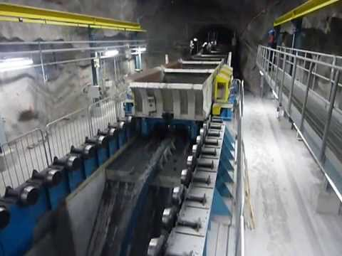 Continuous unloading on LKAB's new underground rail haulage level (1365m) in Kiruna