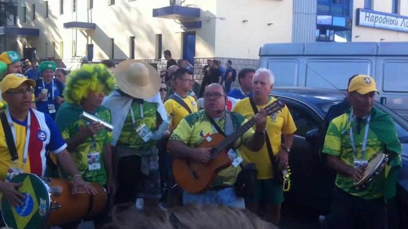 Бразильские Фанаты в Тушино. Чемпионат мира по футболу . 2018 .