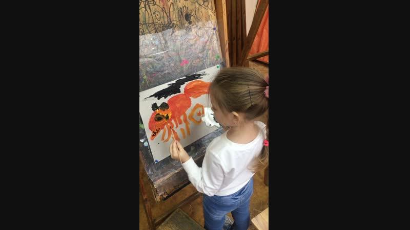 Начинающие художники в изостудии Оранжевая зебра