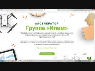 Заполнение заявки в акселератор Группы «Илим».