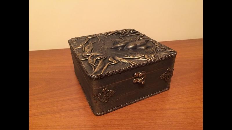 Шкатулка отделанная натуральной кожей. DIY. Casket decor leather.