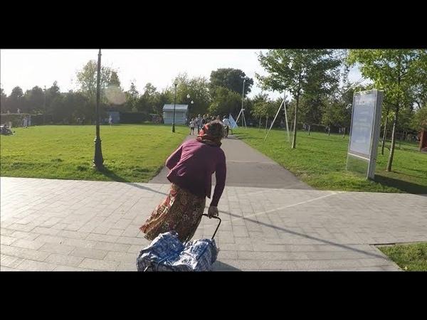 Бабка на моноколесе Парк Горького